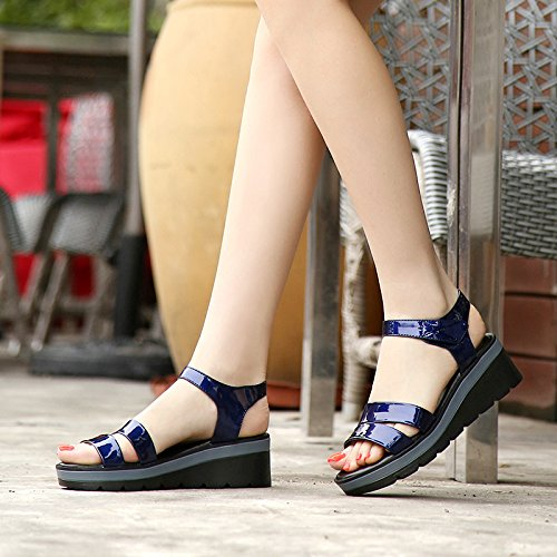 Xing Lin Ladies Sandals New Wedge Sandals Women Summer Bright Skin With Velcro Casual Thick Large Size 40-43 Sandals Navy blue Px2Ib