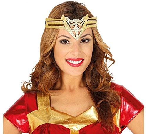 Guirca Bandeau Tiara supereroina, Couleur Or, Adulte, 13044