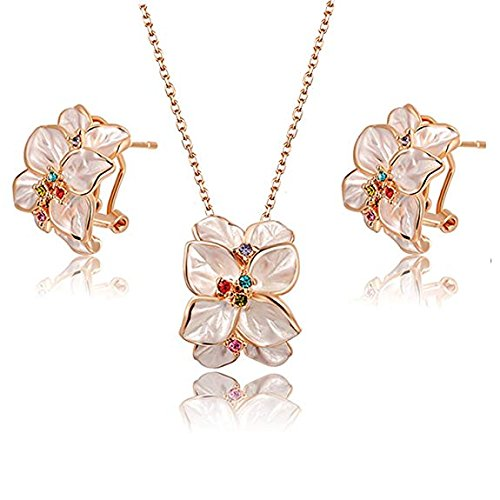 Angelady Fashion Statement Rose Earrings and Necklace Set Best Gift for Girl Women Pure Handmade Elegant Flower Jewelry to her 2030022360-ca