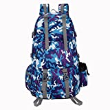 UBORSE 50 Liter Hiking Backpack Waterproof Travel pack-sack for Outdoor Camping Climbing Cycling Mountaineering Fishing Skiing Picnicking, Camou-blue