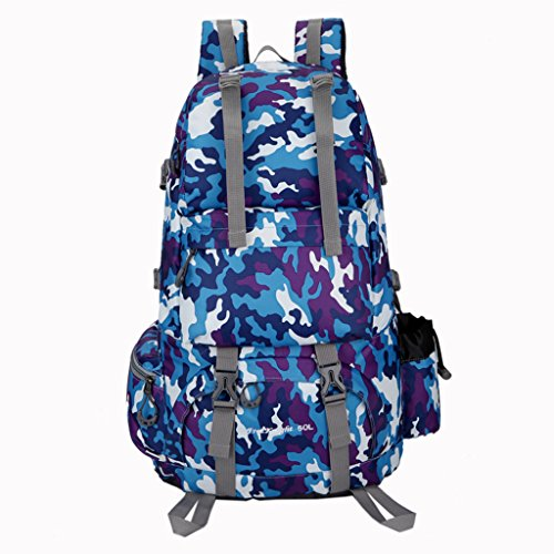 UBORSE 50 Liter Hiking Backpack Waterproof Travel pack-sack for Outdoor Camping Climbing Cycling Mountaineering Fishing Skiing Picnicking, Camou-blue by UBORSE