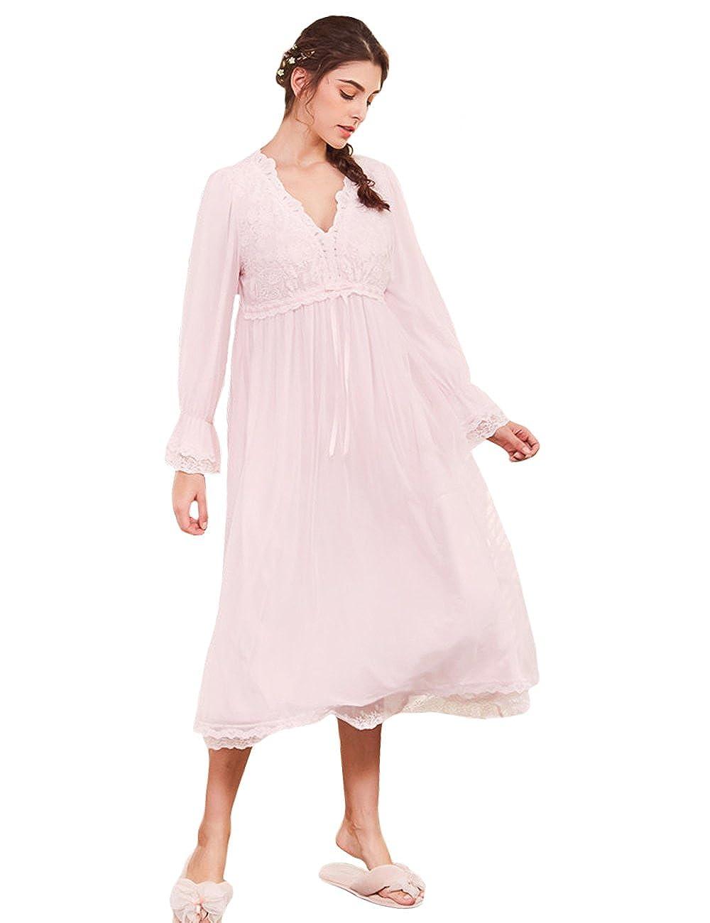 AIKOSHA Womens Modal Full Length v Neck Long Flare Sleeve Lace Trim  Nightdress  Amazon.co.uk  Clothing f9b850ff4