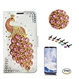 STENES LG Tribute HD Case - Stylish - 3D Handmade Crystal Peacock Design Wallet Credit Card Slots Fold Media Stand Leather Cover LG Tribute HD Screen Protector - Pink