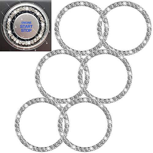 HX Online 6 Pcs Car Crystal Rhinestone Ring, Bling Silver Sticker Emblem Ring, Sparkly Car Interior Accessory Decoration…