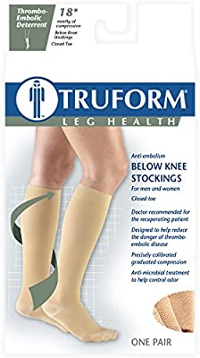 Truform 8808 Anti-Embolism Knee Length Closed Toe 18 mmHg Stockings, Beige, Medium (Pack of 2)