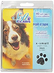 Canine Soft Claws Dog and Cat Nail Caps Take Home Kit, X-Small, Black