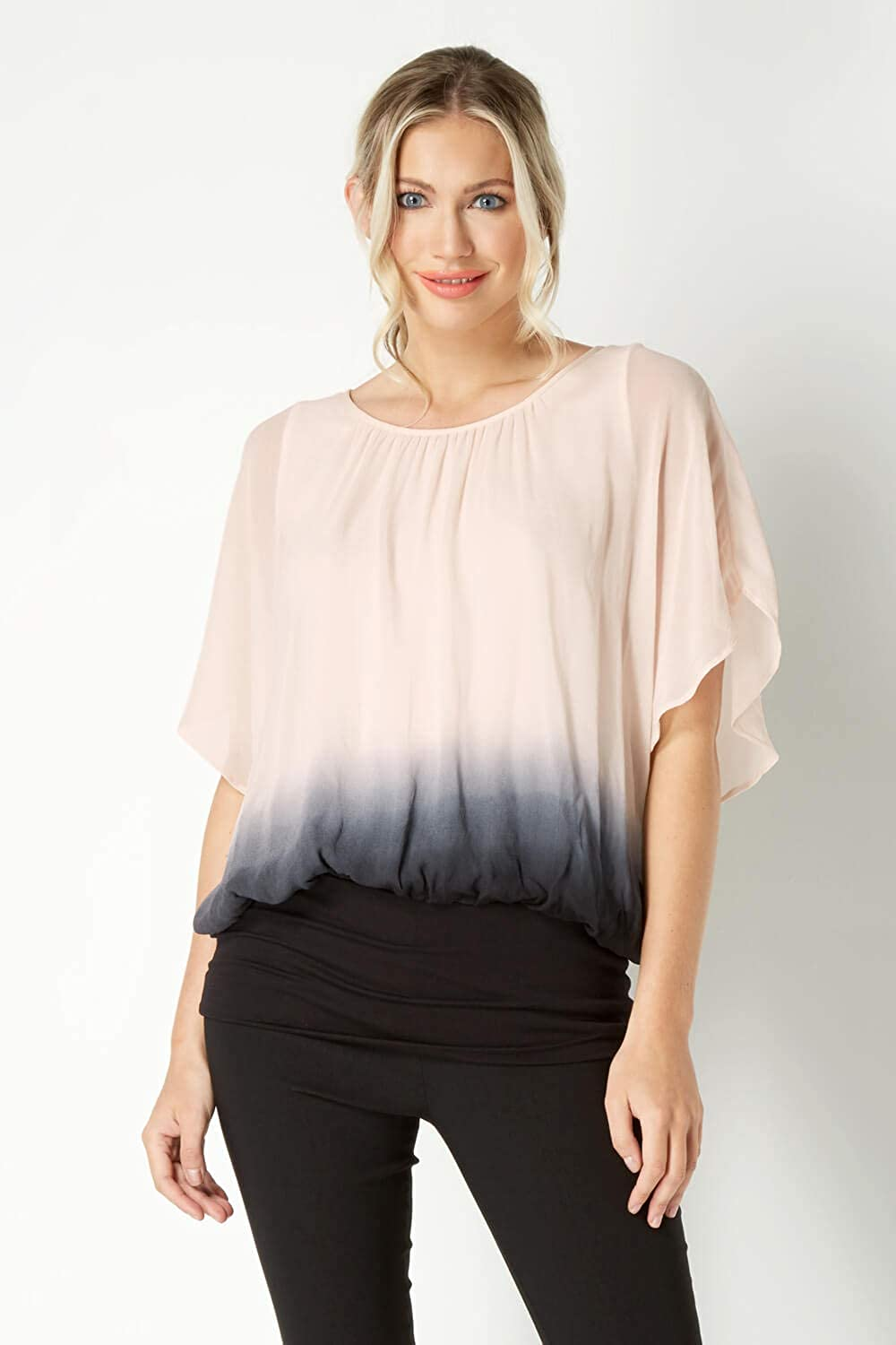 b50b974f9193d Roman Originals Women Ombre 3 4 Sleeve Top - Ladies Round Neck Going Out  Party Cocktails Evening Dinner Date Hen Party Wedding Blouses Tops   Amazon.co.uk  ...
