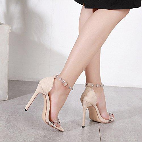 Soirée Taille Femmes Chaussures De Orteil Stiletto Rivets Grande D'été Mariage LINYI Ouvrir Nude De Robe Sandales XSRpn4qz