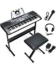 $105 » Costzon 61 Key Keyboard Piano with LCD Screen, Portable Digital Piano w/Microphone Headphone, Adjustable Stand, Foldable Piano Bench, Dual Power Supply, Perfect for Kid Beginners Adults