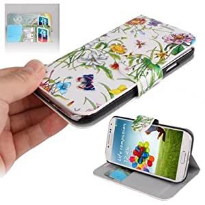 Lily Flower Pattern Horizontal Flip Leather Case with Credit Card Slots & Holder for Samsung Galaxy S4 / i9500 (White)
