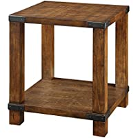 Furniture of America Mattias Industrial End Table on Casters