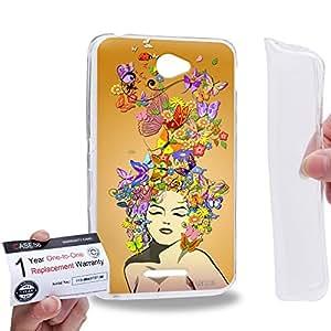 Case88 [Sony Xperia E4 / E4 Dual] Gel TPU Phone case & Warranty Card - Art Drawing Fashion Orange Floral Hairstyles