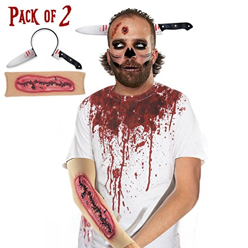 Pawliss Halloween Scary Knife-Thru-Head Headband & 3D Scars Sleeves Set Zombie Costume Accessories for Men Women