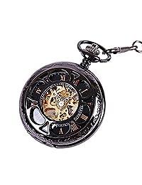 Relojes de Bolsillo Reloj de bolsillo mecánico clásico esculpido hueco de pétalos Reloj de bolsillo vintage con cadena for hombres Mujeres Reloj con Cadena ( Color : Negro , tamaño : Un tamaño )