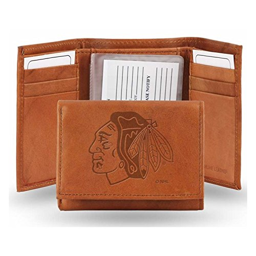 Nhl Chicago Blackhawks Leather - Rico NHL Chicago Blackhawks Embossed Leather Trifold Wallet