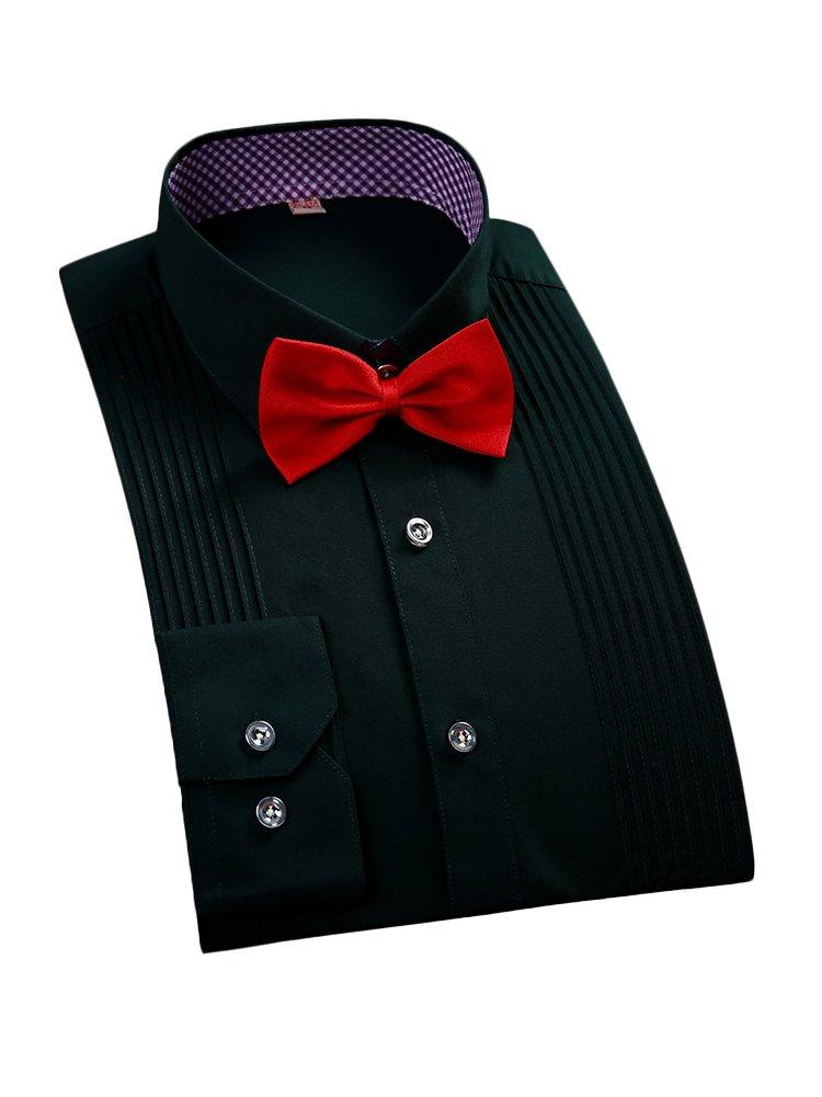 PORT& LOTUS Men's Slim Fit Striped Front Tuxedo Shirt PLS05