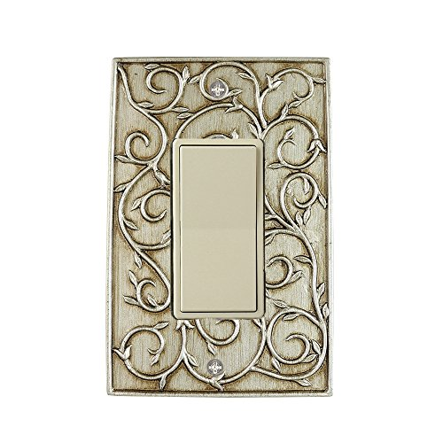 Meriville French Scroll 1 Rocker Wallplate, Single Switch Electrical Cover Plate, Aged Silver