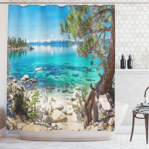 Ambesonne Blue Shower Curtain Beach Decor, Lake Tahoe Snowy Mountain Reflection on Clearwater Rocky Shore Romantic View, Polyester Fabric Bathroom Set with Hooks, 69W X 70L Inches, Aqua Ivory
