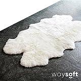 WaySoft 100% Natural Genuine New Zealand/Australia Sheepskin Rug Single Pelt, Ivory Color, 4ft x 6ft