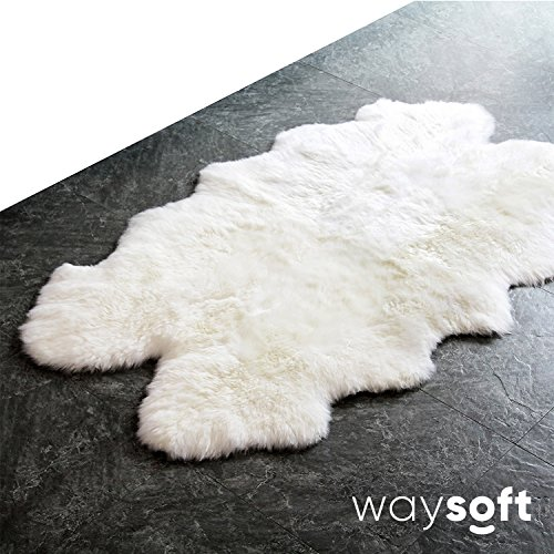 WaySoft 100% Natural Genuine New Zealand/Australia Sheepskin Rug Single Pelt, Ivory Color, 4ft x 6ft by WaySoft