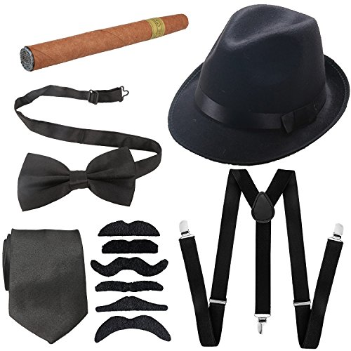 1920s Mens Accessories Hard Felt Wide Brim Panama Hat, Y-Back Elastic Suspenders & Pre Tied Bow Tie, Gangster Tie,Toy Cigar & Fake Mustache (OneSize, Black) -