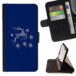For Sony Xperia Z3 D6603 Case , Venado Azul Invierno Estrellas Minimalista- la tarjeta de Crédito Slots PU Funda de cuero Monedero caso cubierta de piel