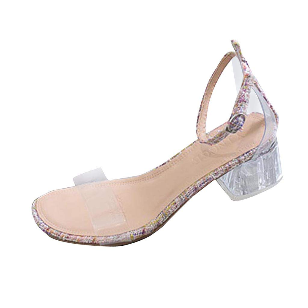 Fastbot Women's Summer Sandals Transparent Crystal Straps Thick Medium Heels Pink