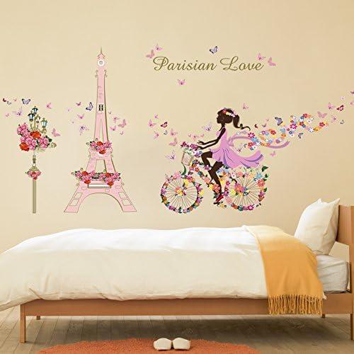 Romantic Girl Riding Bicycle Removable Wall Sticker Art Vinyl Bedroom Decor