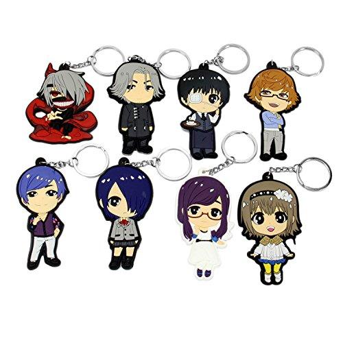 OliaDesign Cosplay Tokyo Ghoul Anime Characters 8 PCS Keychain Key Pendant (Anime Keychain)