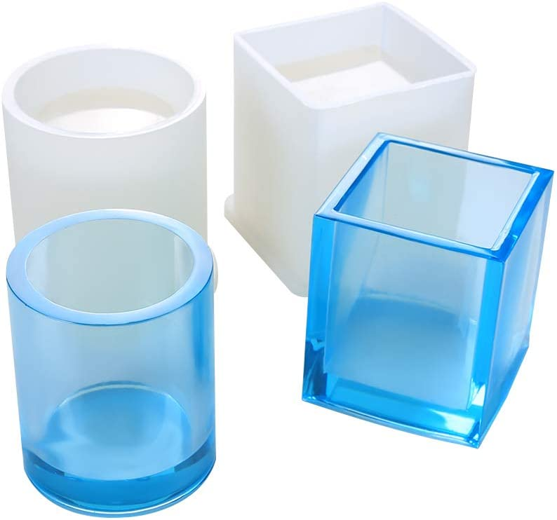 2 Pack DIY Square Resin Plant Mold, Cube and Cylinder Silicone Molds, DIY Flower Pot Molds, Planter Pot Mold, Pen Holder molds