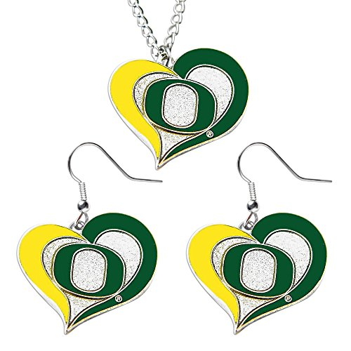 Bluetech Oregon Ducks Swirl Heart Dangle Logo Necklace and Earring Set Charm Pendant Gift NCAA-By ()