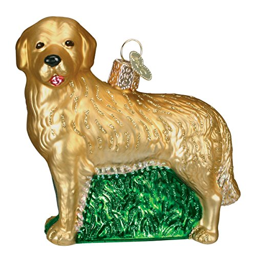 Old World Christmas Golden Retriever Glass Blown (Retriever Glass Ornament)