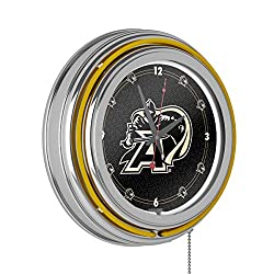 Army Black Knights Chrome Double Ring Neon Clock