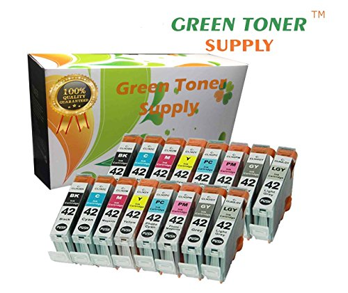 Green Toner Supply (TM) New Compatible [Canon CLI-42] Inkjet Cartridge, 16 Colors Pack
