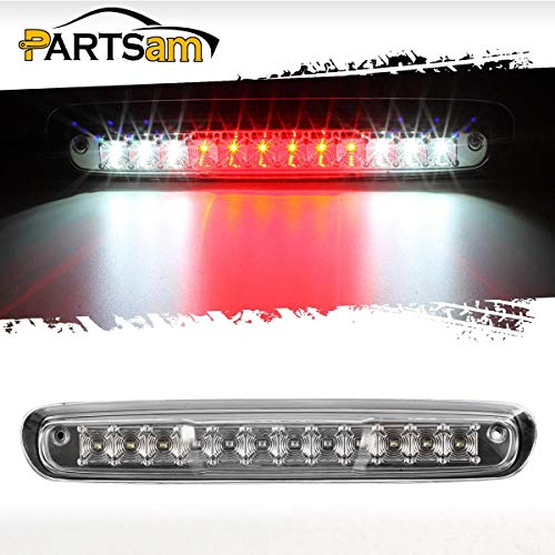 Partsam For 2007-2014 Chevy Silverado GMC Sierra 1500 2500 HD 3500 HD Red/White LED Clear Lens High Mount 3rd Third Brake Light Cargo Tail Lamp