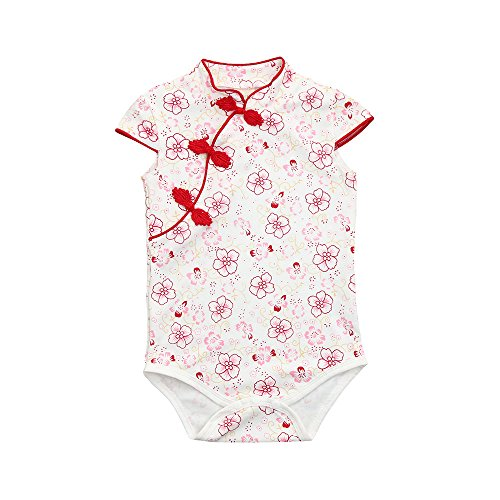 (Baby Girls Infant Toddler Rose Flower Print Romper Jumpsuit Outfits Cuekondy Summer Sleeveless Chinese Style Playsuit (Red -2, 6M))