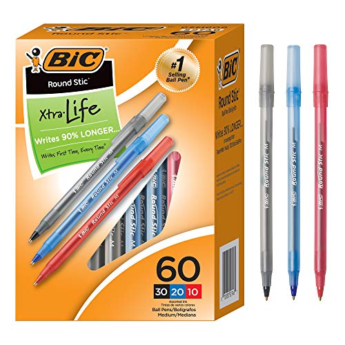 Black Color Stick Pen - BIC Round Stic Xtra Life Ball Pen, Medium Point (1.0mm), Assorted Colors, 60-Count