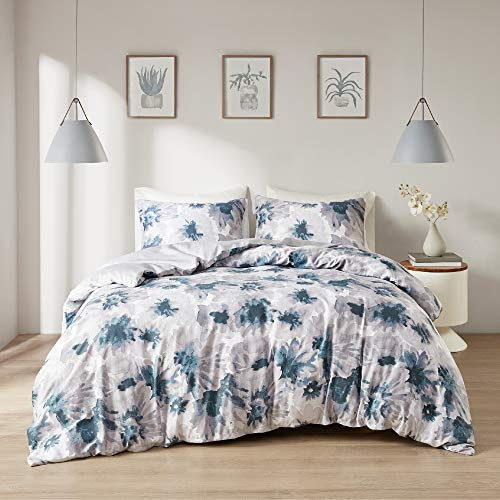 "Intelligent Design Reversible 100% Cotton Sateen Duvet - Breathable Comforter Cover, Modern All Season Bedding Set with Sham (Insert Excluded), Mercy, Floral Tiles King/Cal King(104""x90"")"
