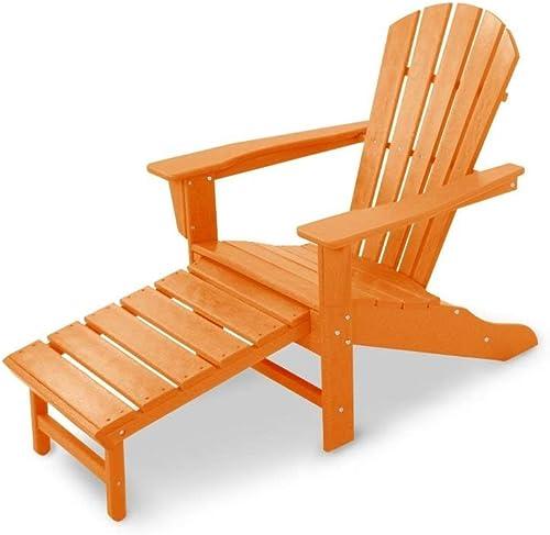Polywood HNA15TA Palm Coast Ultimate Hideaway Ottoman Adirondack Chair, Single, Tangerine