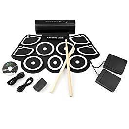 Best Choice Products Electronic Drum Pad, MIDI Drum Set w/Built-In Speakers, 2 Effect Pedals, Drumsticks