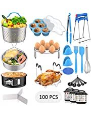 120 PCS Accessories Set for Instant Pot, Fungun Accessories Compatible with 5/6/8Qt Instant Pot, 100 Pcs Cake Baking Papers, 2 Steamer Baskets, Springform Pan, Egg Rack, Egg Mold, Oven Mitts and