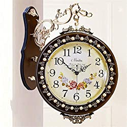 Linbing123 Vintage-Inspired Rural Double Sided Wall Clock - Wrought Iron Train Station Style Round Clock with Scroll Wall Side Mount - 360 Degree Rotation Home Décor,002