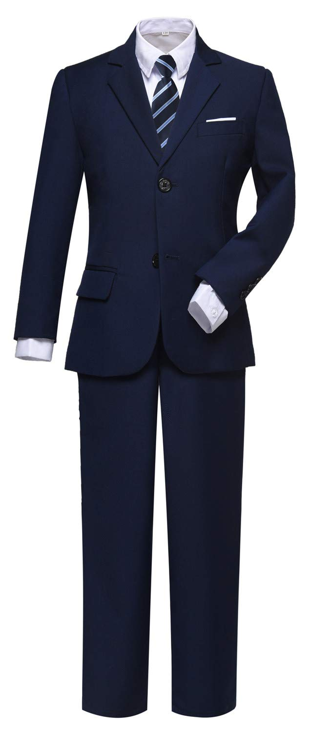 Visaccy Suit for Boys 5 Pieces Kids Tuxedo Toddler Slim Fit Suits Outfit for Wedding Navy Blue Size 7