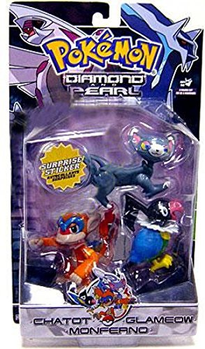 Pokemon Diamond and Pearl Series 3 Basic Figure 3-Pack Chatot, Glameow and Monferno