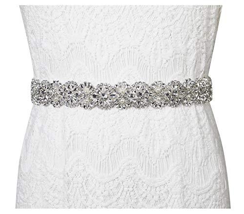 Lovful Women's Ribbon Belt for Dress Crystal Diamond Bridal Sashes Belt,white rhinestone wedding belts ()