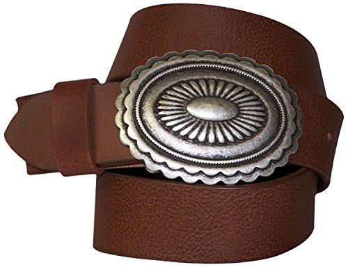 Unisex Vera Placca Etnica Cintura In Vecchio 18175 Ovale Bufalo Fronhofer Da Argento Messicano Jeans A Cm Con Di Fibbia Stile Finitura Pelle Marrone 4 Art Eq0x6C