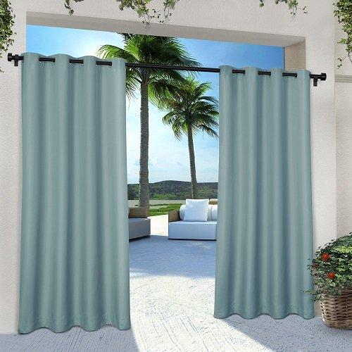 Exclusive Home Indoor/Outdoor Solid Cabana Window Curtain Panel Pair with Grommet Top 54x84 Seafoam 2 Piece ()