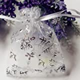 50 PCS Christmas Snowflake Organza Pouch Wedding Favour Gift Drawstring Candy Bag by Pakhuis
