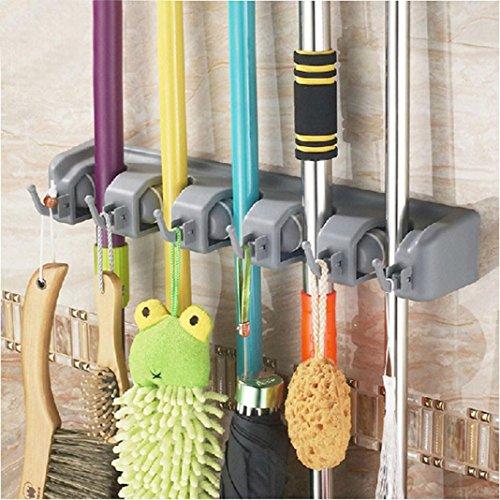 Tharv Wall Mounted & Hook für Mop Brush Broom Umbrella Holder Organizer Storage Tool Rack   5 Position and 6 Hooks 40.5x6x6cm by Tharv