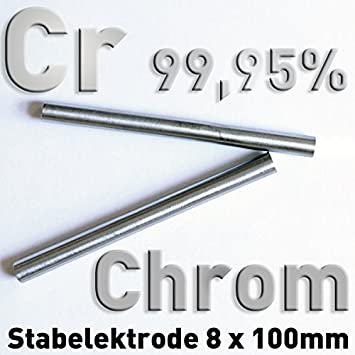 Cromo Cr 99,95 3N5 redondo Varilla ánodo 100 x ⌀ 8 mm galvanoplástica electrólisis Element 24 metal pura, CAS 7440-47-3: Amazon.es: Bricolaje y ...